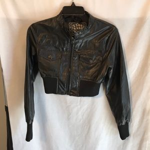Crop style junior size M black jacket leather look
